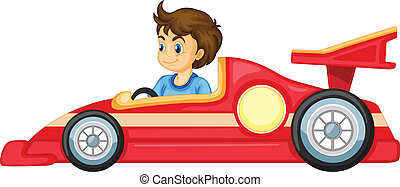 a boy driving a car - illustration of a boy driving a car on...