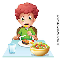 A boy eating - Illustration of a boy eating on a white...