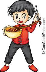 a boy eating noodles