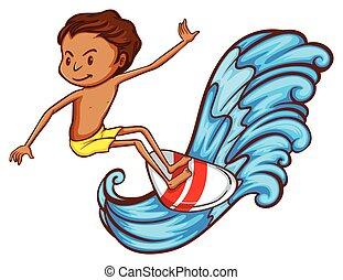 A boy enjoying the watersport