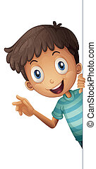 a boy - illustration of a boy peeping on a white background