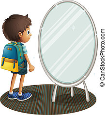Illustration of a boy facing the mirror on a white background
