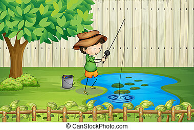 A boy fishing at the pond