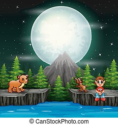A boy fishing with animals in the night scene