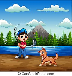 A boy fishing with his pet in the river