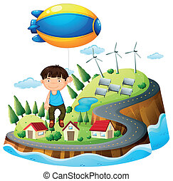 A boy floating with the aircraft