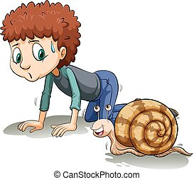 A boy following the snail