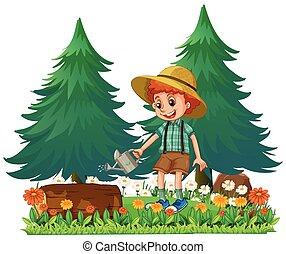 A Boy Gardening the Garden