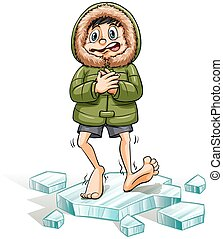 An idiom showing a boy getting a cold feet on a white background