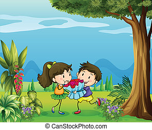A boy giving a girl a bouquet of flowers
