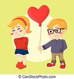 a boy giving heart shaped balloon t