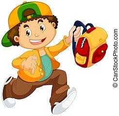 A boy going to school