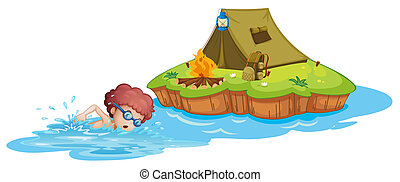 Illustration of a boy going to the campsite on a white background