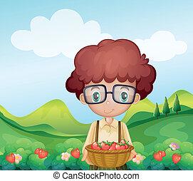 Illustration of a boy harvesting strawberries