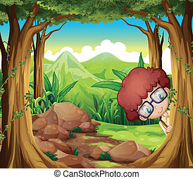 A boy hiding at the forest - Illustration of a boy hiding at...