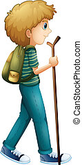 A boy hiking with a wood - Illustration of a boy hiking with...