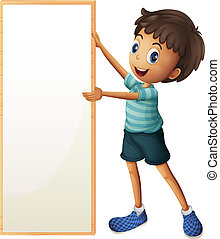 A boy holding a blank framed board