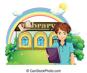 A boy holding a book standing in front of the library