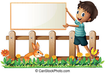 A boy holding a framed board in the garden - Illustration of...