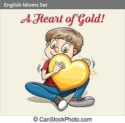 A boy holding a heart