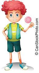 A boy holding a lollipop - Illustrtion of a boy holding a...