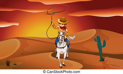 A boy holding a rope while riding a horse