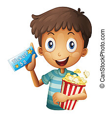 A boy holding a ticket and a popcorn