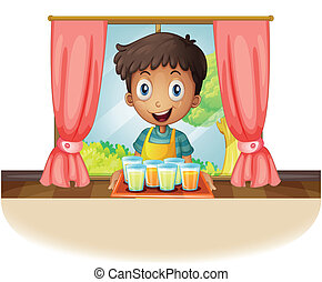 A boy holding a tray of juice