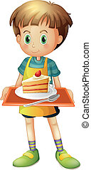 A boy holding a tray with a slice of cake in a plate -...