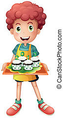 A boy holding a tray with four cupcakes