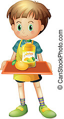 A boy holding a tray with mango juice