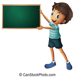 Illustration of a boy holding an empty blackboard on a white background