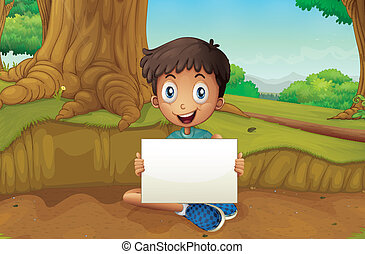 A boy holding an empty signboard near the giant tree