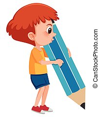 A boy holding giant pencil