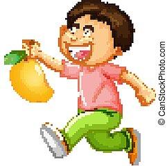 A boy holding mango fruit cartoon character isolated on white background