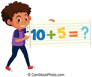 A boy holding math question card
