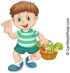 A boy holding vegetable basket