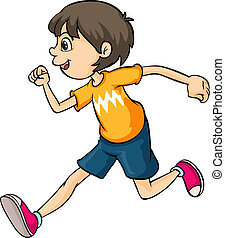 A boy - Illustration of a boy running on a white background