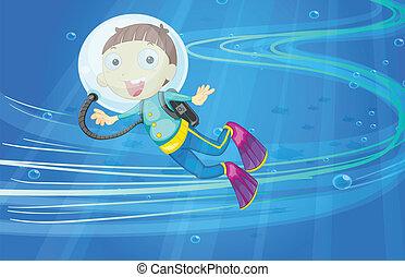 a boy - illustration of under water boy
