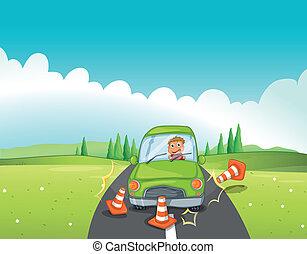 A boy in a green car bumping the traffic cones