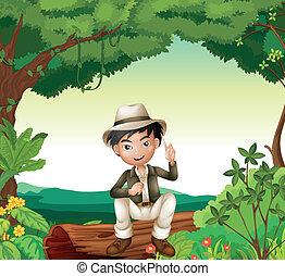 A boy in nature