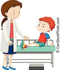 A boy injured leg