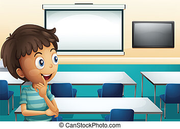 Illustration of a boy inside a meeting room