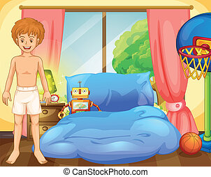 A boy inside his room with a robot and a basketball net
