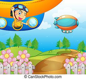 A boy inside the aircraft
