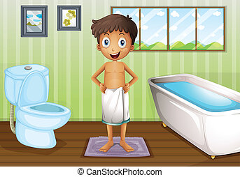 A boy inside the bathroom - Illustration of a boy inside the...