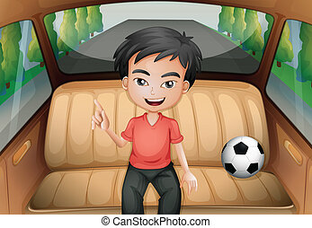 A boy inside the car with a soccer ball - Illustration of a...