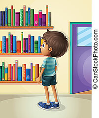 A boy inside the library