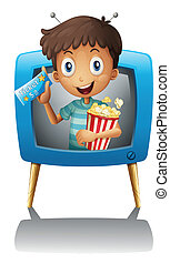 A boy inside the TV with a popcorn and a ticket