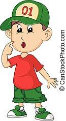 a boy is confused cartoon vector illustration